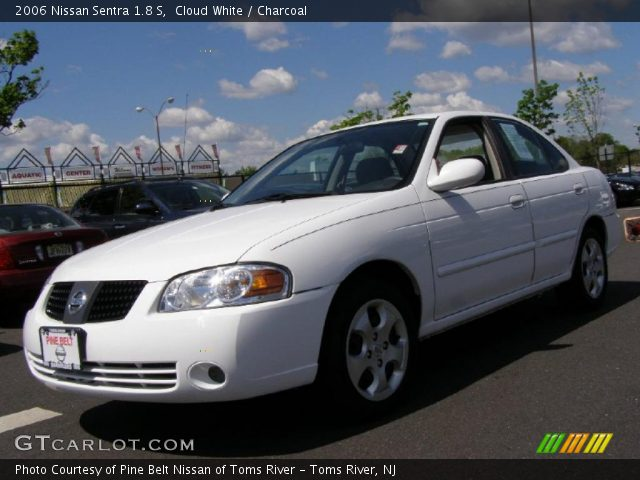 cloud white 2006 nissan sentra 1 8 s charcoal interior vehicle archive. Black Bedroom Furniture Sets. Home Design Ideas