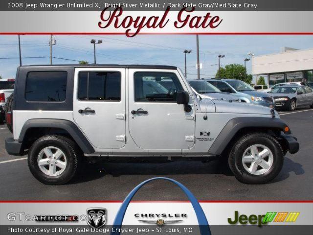 Bright Silver Metallic 2008 Jeep Wrangler Unlimited X Dark Slate Gray Med Slate Gray