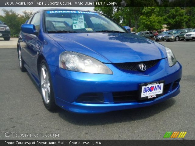 vivid blue pearl 2006 acura rsx type s sports coupe ebony interior vehicle. Black Bedroom Furniture Sets. Home Design Ideas