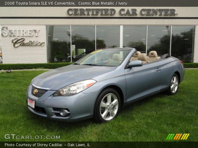 cosmic blue metallic 2008 toyota solara sle v6 convertible ivory interior. Black Bedroom Furniture Sets. Home Design Ideas