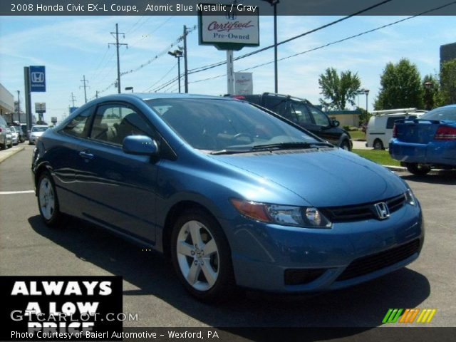 atomic blue metallic 2008 honda civic ex l coupe gray. Black Bedroom Furniture Sets. Home Design Ideas