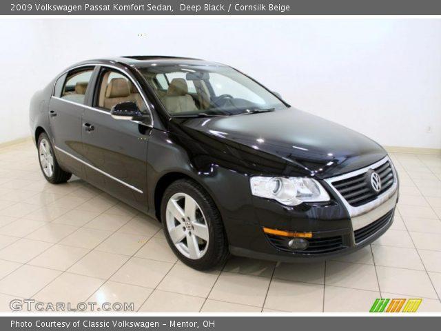 Deep Black 2009 Volkswagen Passat Komfort Sedan Cornsilk Beige Interior