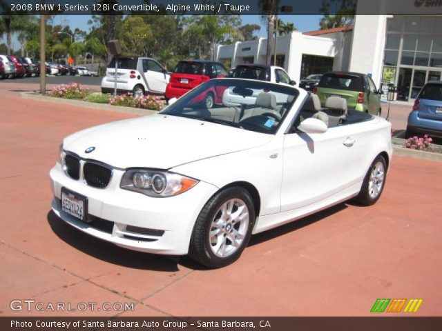 alpine white 2008 bmw 1 series 128i convertible taupe interior vehicle. Black Bedroom Furniture Sets. Home Design Ideas