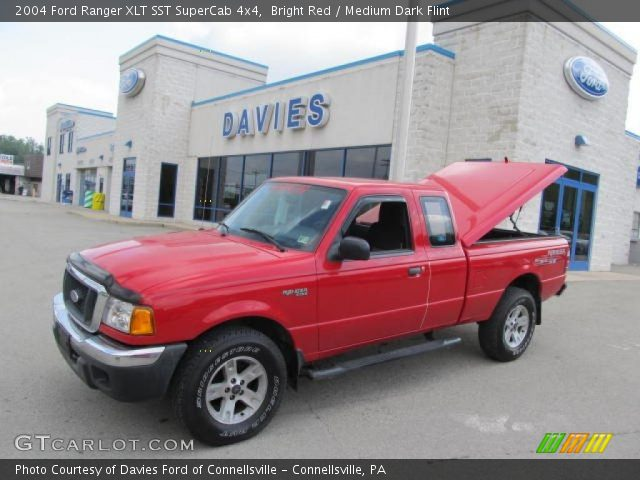 bright red 2004 ford ranger xlt sst supercab 4x4 medium dark flint interior. Black Bedroom Furniture Sets. Home Design Ideas