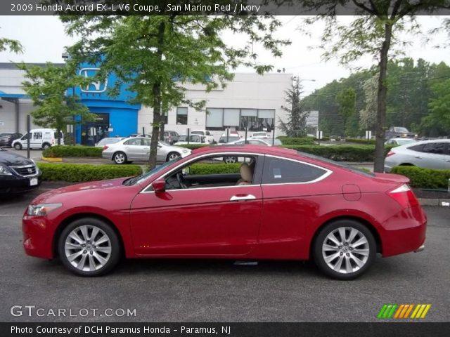 san marino red 2009 honda accord ex l v6 coupe ivory interior vehicle. Black Bedroom Furniture Sets. Home Design Ideas