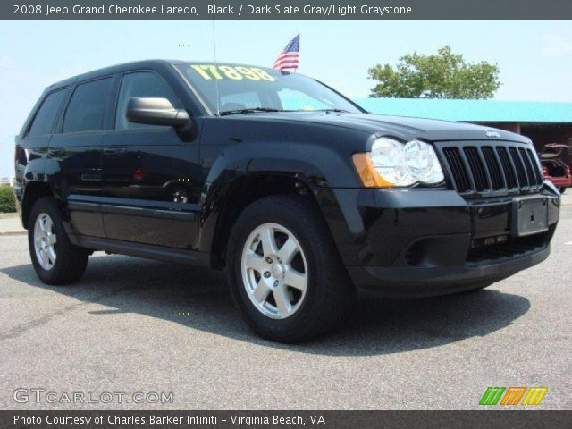 Black 2008 jeep grand cherokee laredo dark slate gray light graystone interior gtcarlot for 2008 jeep grand cherokee interior