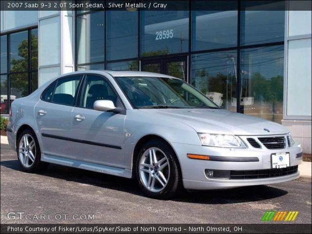 silver metallic 2007 saab 9 3 2 0t sport sedan gray interior vehicle. Black Bedroom Furniture Sets. Home Design Ideas