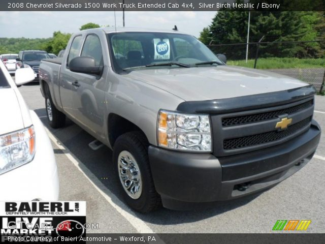 silver birch metallic 2008 chevrolet silverado 1500 work truck extended cab 4x4 ebony. Black Bedroom Furniture Sets. Home Design Ideas