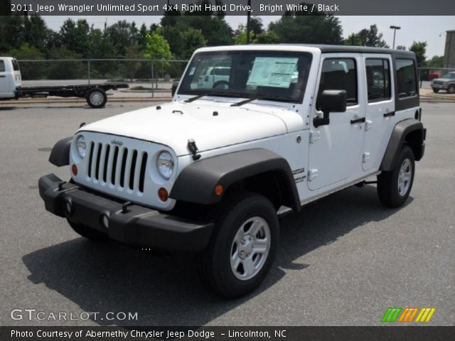 bright white 2011 jeep wrangler unlimited sport 4x4 right hand drive black interior. Black Bedroom Furniture Sets. Home Design Ideas