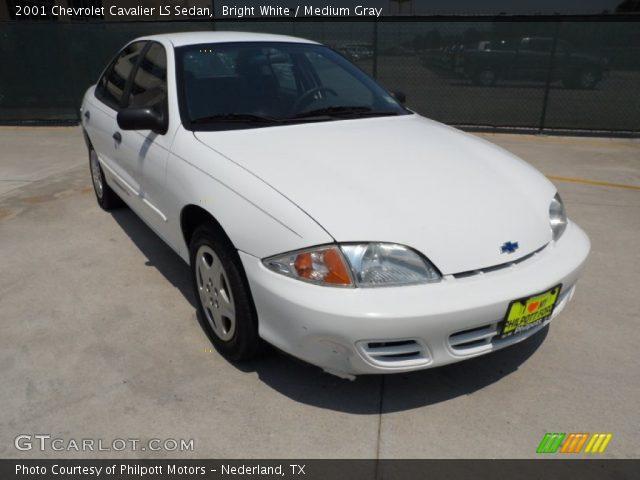 Bright White 2001 Chevrolet Cavalier Ls Sedan Medium Gray