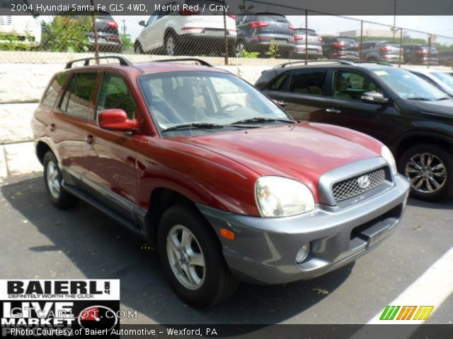 merlot red 2004 hyundai santa fe gls 4wd gray interior vehicle archive. Black Bedroom Furniture Sets. Home Design Ideas