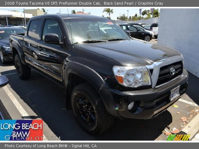 black sand pearl 2008 toyota tacoma v6 sr5 prerunner double cab graphite gray interior. Black Bedroom Furniture Sets. Home Design Ideas