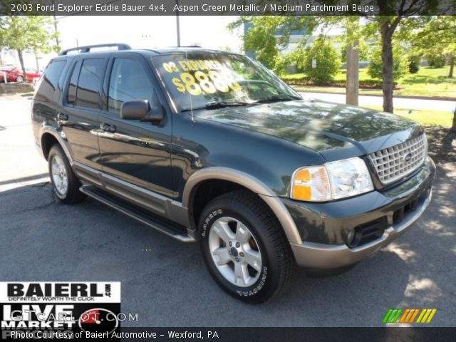 aspen green metallic 2003 ford explorer eddie bauer 4x4 medium parchment beige interior. Black Bedroom Furniture Sets. Home Design Ideas