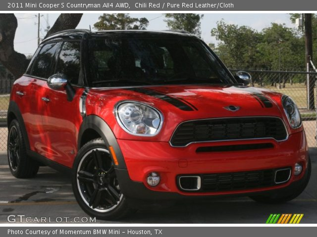 chili red 2011 mini cooper s countryman all4 awd pure red leather cloth interior gtcarlot. Black Bedroom Furniture Sets. Home Design Ideas
