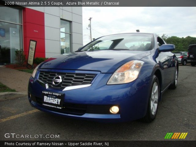 azure blue metallic 2008 nissan altima 2 5 s coupe charcoal interior. Black Bedroom Furniture Sets. Home Design Ideas