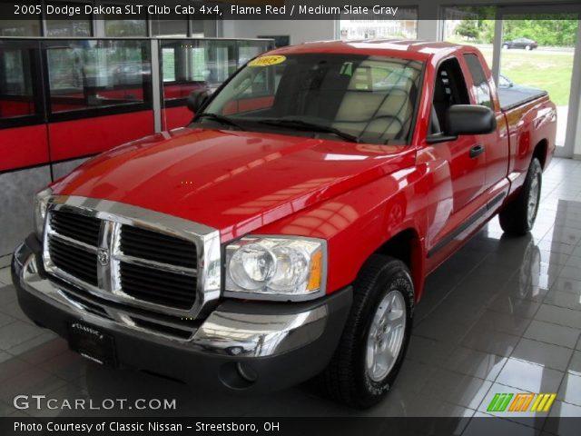 flame red 2005 dodge dakota slt club cab 4x4 medium slate gray interior. Black Bedroom Furniture Sets. Home Design Ideas