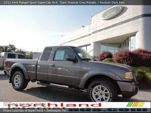 dark shadow grey metallic 2011 ford ranger sport supercab 4x4 medium dark flint interior. Black Bedroom Furniture Sets. Home Design Ideas