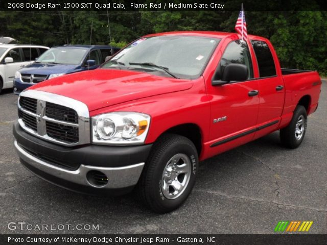 flame red 2008 dodge ram 1500 sxt quad cab medium slate gray interior. Black Bedroom Furniture Sets. Home Design Ideas