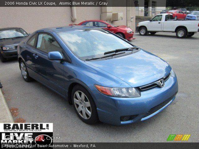 atomic blue metallic  honda civic lx coupe gray interior gtcarlotcom vehicle