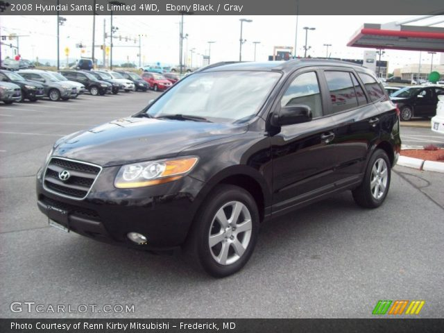 ebony black 2008 hyundai santa fe limited 4wd gray interior vehicle archive. Black Bedroom Furniture Sets. Home Design Ideas