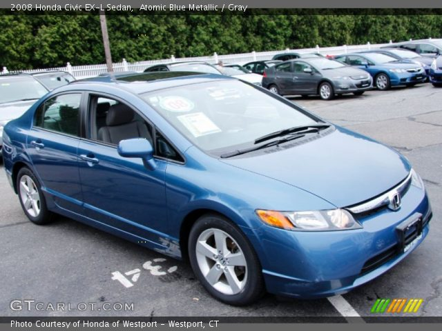 atomic blue metallic 2008 honda civic ex l sedan gray. Black Bedroom Furniture Sets. Home Design Ideas