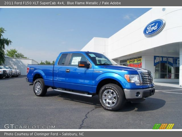 blue flame metallic 2011 ford f150 xlt supercab 4x4 pale adobe interior. Black Bedroom Furniture Sets. Home Design Ideas
