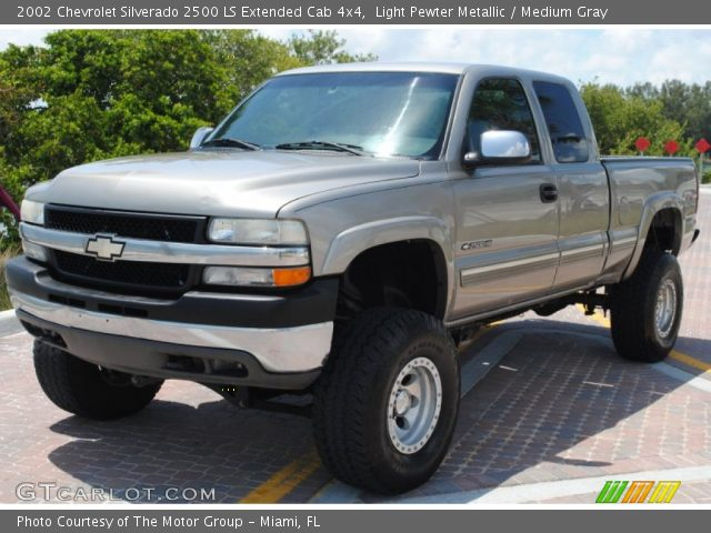 Light Pewter Metallic 2002 Chevrolet Silverado 2500 Ls Extended Cab 4x4 Medium Gray Interior