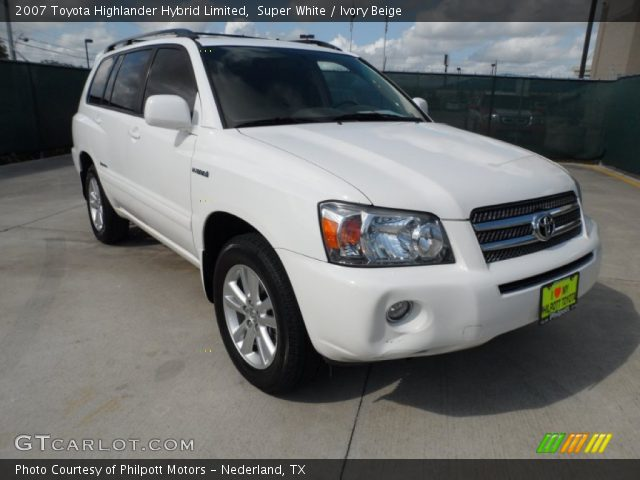 super white 2007 toyota highlander hybrid limited ivory beige interior. Black Bedroom Furniture Sets. Home Design Ideas