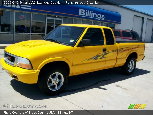 flame yellow 2003 gmc sonoma sls extended cab 4x4 graphite interior vehicle. Black Bedroom Furniture Sets. Home Design Ideas