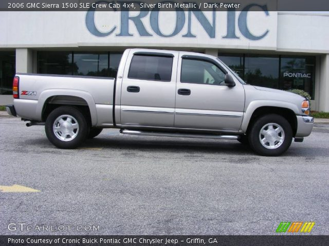 silver birch metallic 2006 gmc sierra 1500 sle crew cab 4x4 dark pewter interior gtcarlot. Black Bedroom Furniture Sets. Home Design Ideas