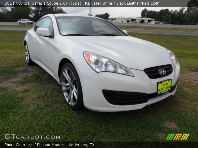 karussell white 2011 hyundai genesis coupe 2 0t r spec black leather red cloth interior. Black Bedroom Furniture Sets. Home Design Ideas