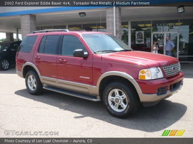 toreador red metallic 2002 ford explorer eddie bauer 4x4 medium parchment interior. Black Bedroom Furniture Sets. Home Design Ideas