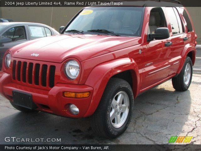 flame red 2004 jeep liberty limited 4x4 light taupe. Black Bedroom Furniture Sets. Home Design Ideas