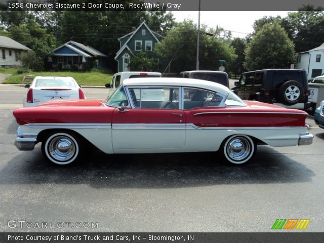 Red White 1958 Chevrolet Biscayne 2 Door Coupe Gray Interior Vehicle