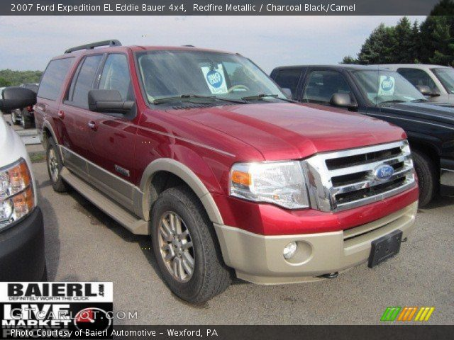 redfire metallic 2007 ford expedition el eddie bauer 4x4 charcoal black camel interior. Black Bedroom Furniture Sets. Home Design Ideas