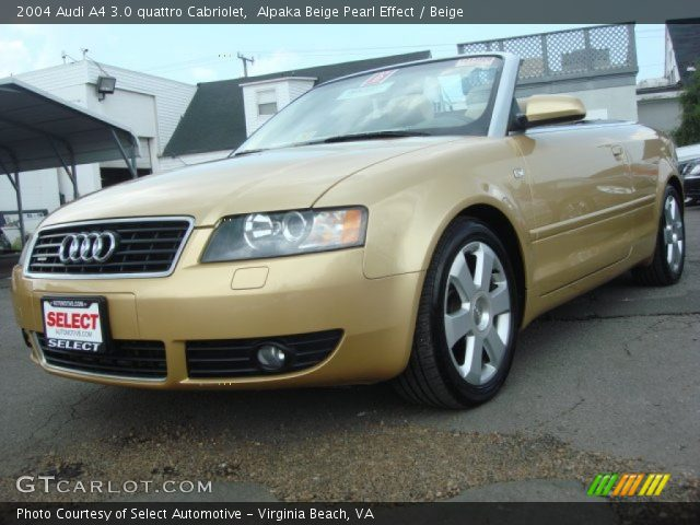 alpaka beige pearl effect 2004 audi a4 3 0 quattro cabriolet beige interior. Black Bedroom Furniture Sets. Home Design Ideas