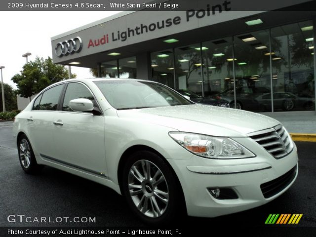 white satin pearl 2009 hyundai genesis 4 6 sedan beige. Black Bedroom Furniture Sets. Home Design Ideas