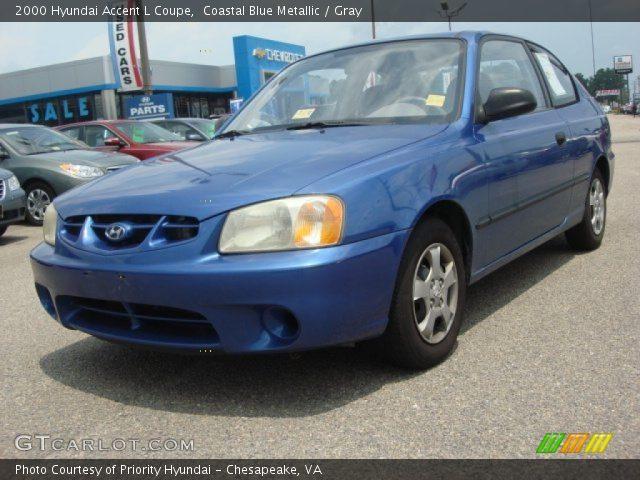 2000 Hyundai Accent L Coupe in Coastal Blue Metallic