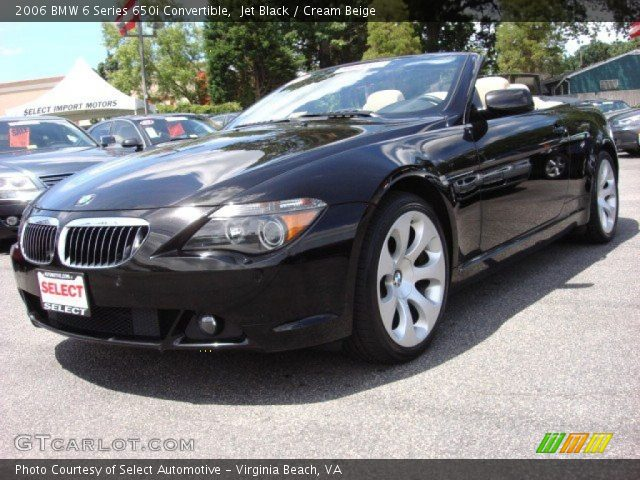 jet black 2006 bmw 6 series 650i convertible cream beige interior vehicle. Black Bedroom Furniture Sets. Home Design Ideas