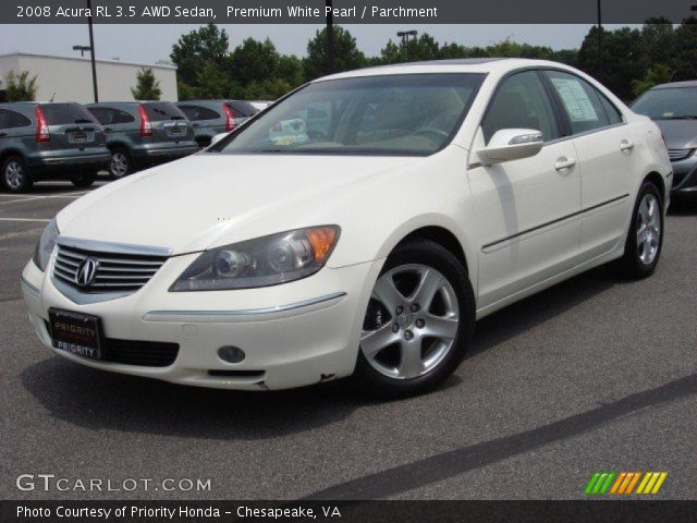 premium white pearl 2008 acura rl 3 5 awd sedan parchment interior vehicle. Black Bedroom Furniture Sets. Home Design Ideas
