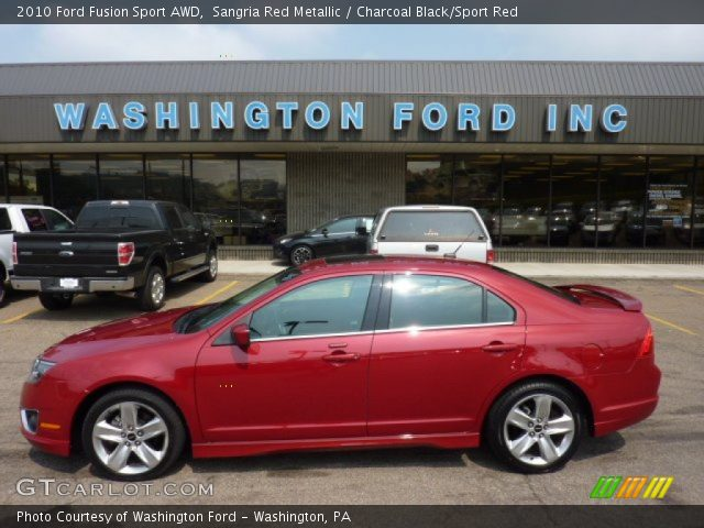 sangria red metallic 2010 ford fusion sport awd charcoal black sport red interior gtcarlot. Black Bedroom Furniture Sets. Home Design Ideas
