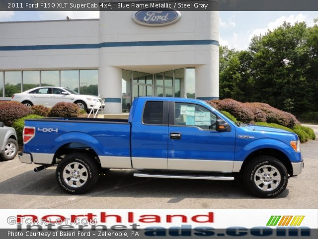 blue flame metallic 2011 ford f150 xlt supercab 4x4 steel gray interior. Black Bedroom Furniture Sets. Home Design Ideas
