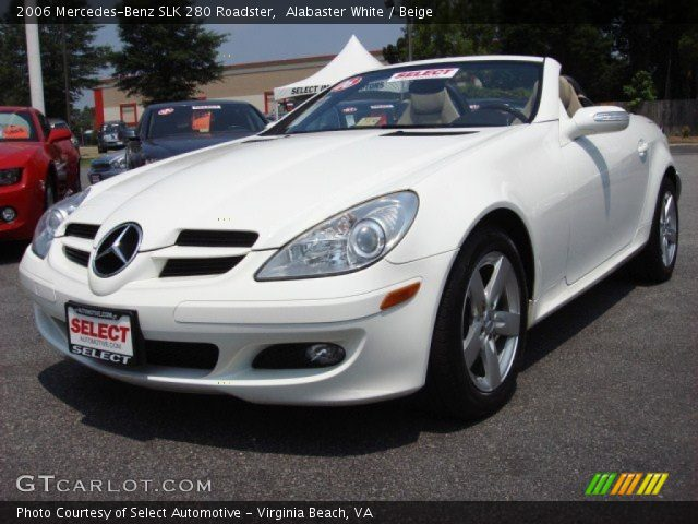 alabaster white 2006 mercedes benz slk 280 roadster beige interior vehicle. Black Bedroom Furniture Sets. Home Design Ideas