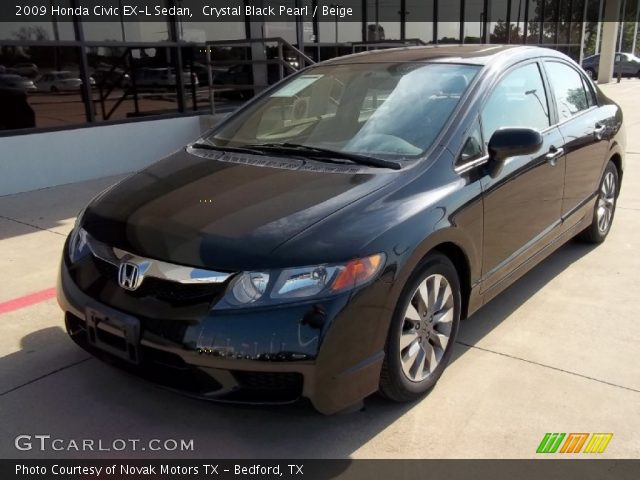 crystal black pearl 2009 honda civic ex l sedan beige interior vehicle. Black Bedroom Furniture Sets. Home Design Ideas