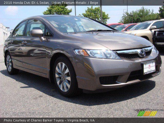 urban titanium metallic 2010 honda civic ex l sedan beige interior vehicle. Black Bedroom Furniture Sets. Home Design Ideas