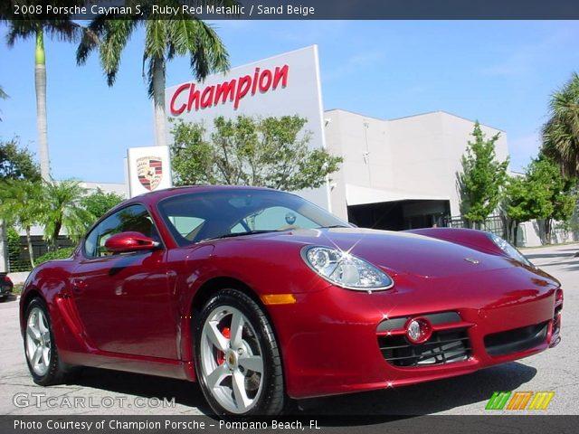 ruby red metallic 2008 porsche cayman s sand beige interior vehicle archive. Black Bedroom Furniture Sets. Home Design Ideas