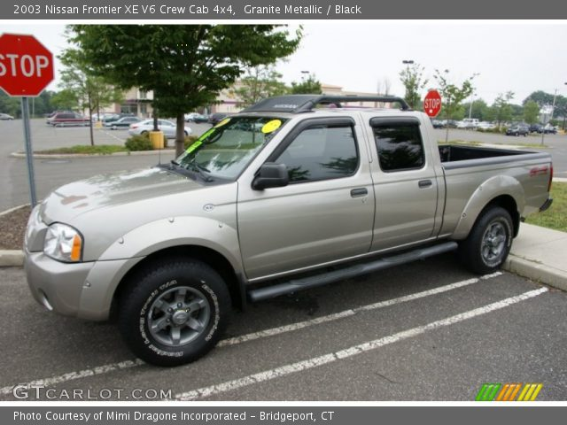 granite metallic 2003 nissan frontier xe v6 crew cab 4x4 black interior. Black Bedroom Furniture Sets. Home Design Ideas