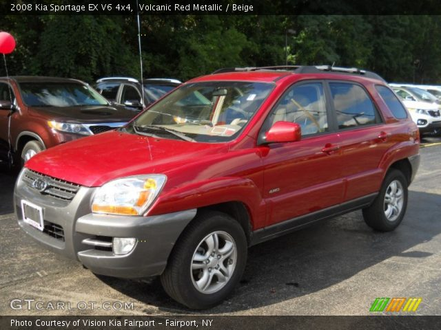 volcanic red metallic 2008 kia sportage ex v6 4x4 beige interior vehicle. Black Bedroom Furniture Sets. Home Design Ideas