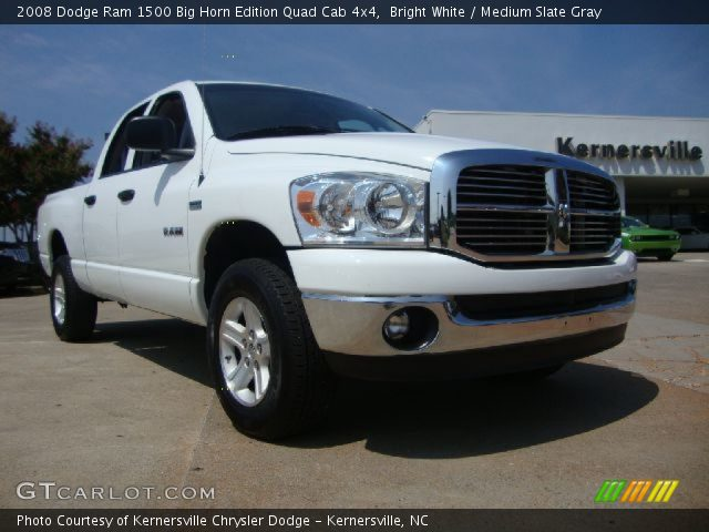 bright white 2008 dodge ram 1500 big horn edition quad cab 4x4 medium slate gray interior. Black Bedroom Furniture Sets. Home Design Ideas