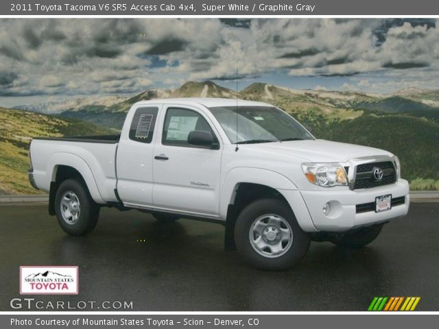 super white 2011 toyota tacoma v6 sr5 access cab 4x4 graphite gray interior. Black Bedroom Furniture Sets. Home Design Ideas